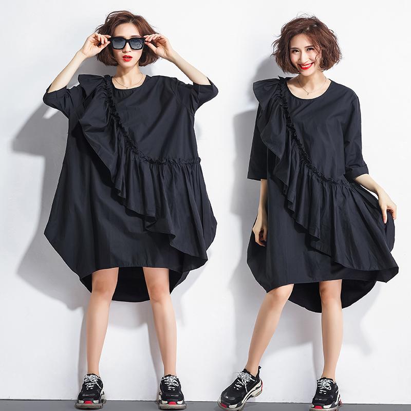 欧美大码女装200斤胖mm夏装中长款纯色拼接宽松遮肚子显瘦连衣裙