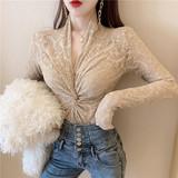 2020春秋装新款紧身镂空小衫长袖上衣性感交叉V领蕾丝打底衫女装