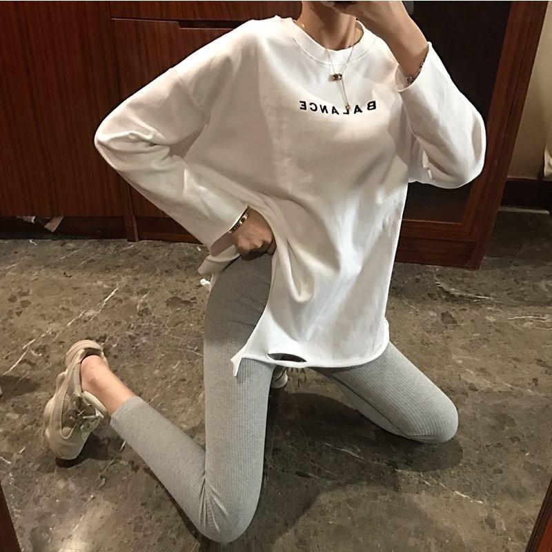 2019春季新款长袖T恤破洞打底衫+高腰螺纹打底裤套装两件套女装
