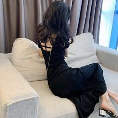 2019夏季新款性感交叉露背裙子修身中长款收腰短袖打底连衣裙女装