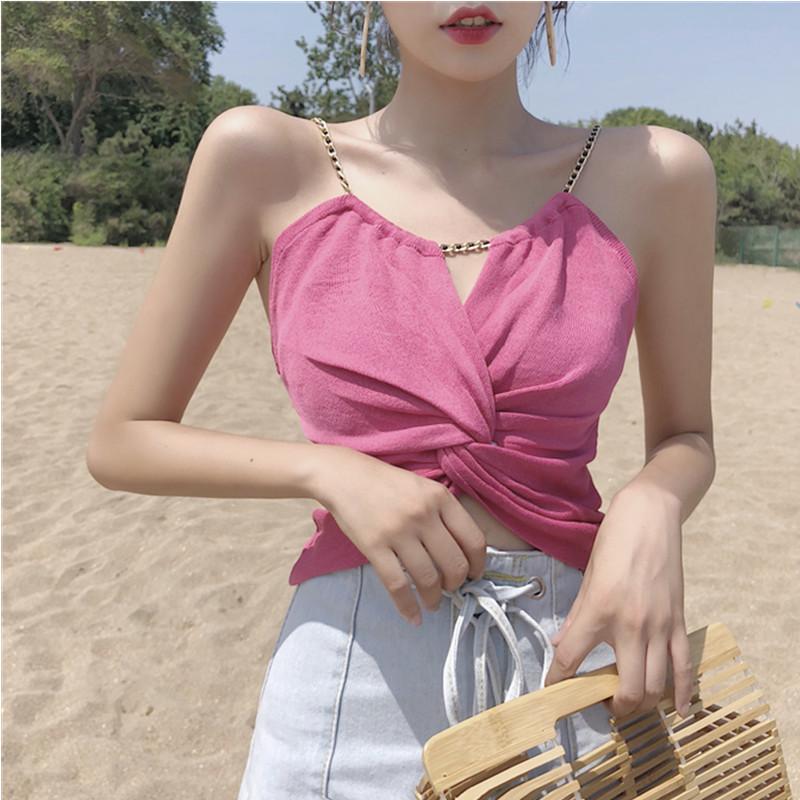 夏季性感链条扭结吊带上衣外穿露脐短款小背心修身无袖打底衫女装
