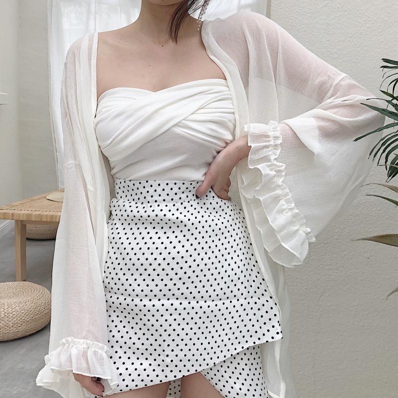 夏季新款复古喇叭袖雪纺衫宽松薄款防晒衣中长款开衫外套上衣女装