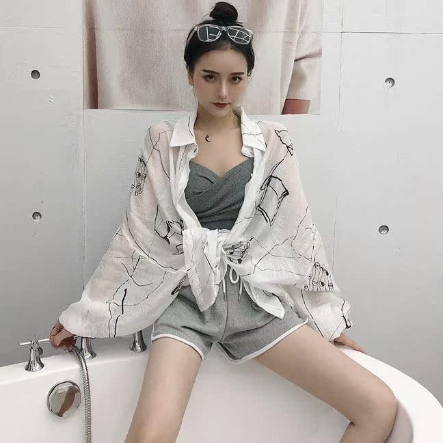 2018夏装新款涂鸦衬衣+交叉吊带抹胸+运动短裤三件套时尚套装女装