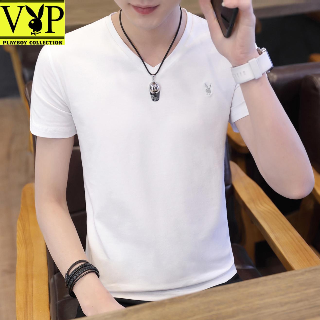 花花公子贵宾男士夏季短袖t恤男装2018新款韩版潮流V领纯色打底衫