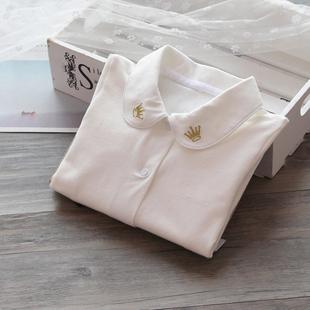百搭女童長袖翻領白色打底衫純棉娃娃領兒童寶寶襯衫上衣春秋童裝
