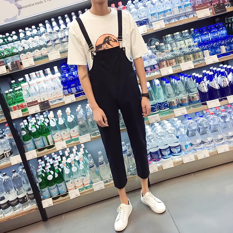 黑色背带裤男九分夏2021春款韩版显瘦学生吊带连体222-2-K37-P40