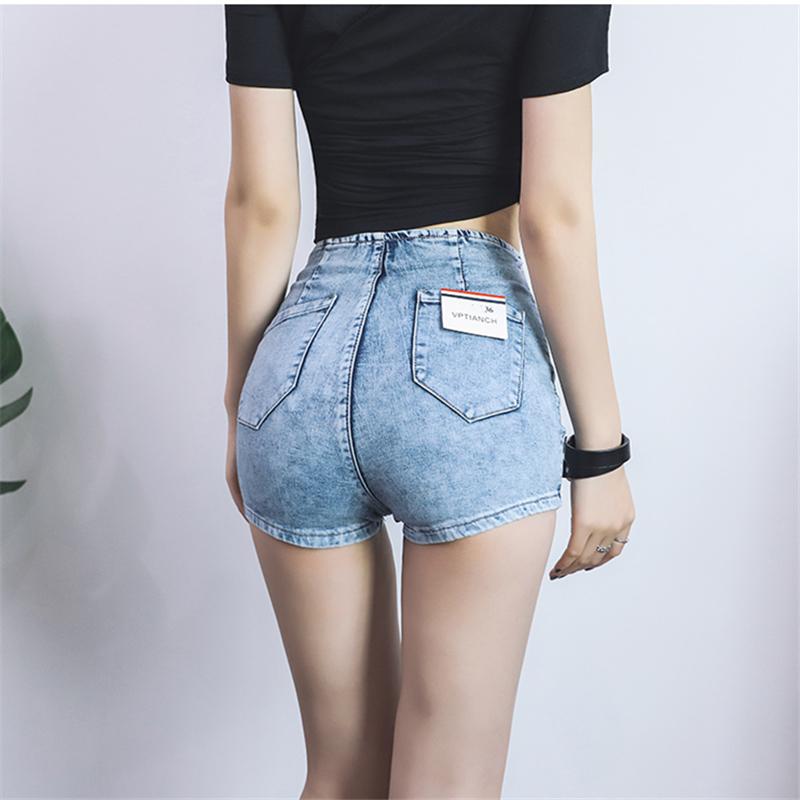 性感蜜桃臀修身弹力A字包臀牛仔超短裤高腰显瘦紧身提臀热裤女夏