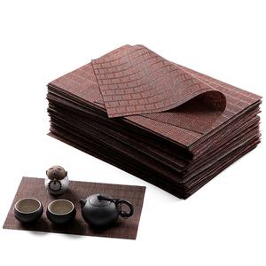 包邮功夫茶具茶道零配件茶盘保护垫茶席竹席纤维耐磨茶帘隔茶杯垫