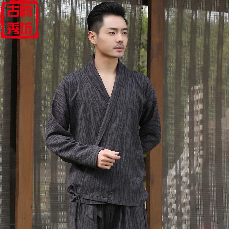 热销3件不包邮中国风男士茶服中式古装汉服居士服