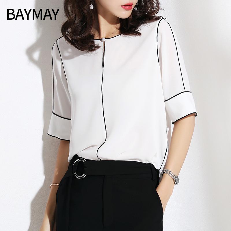 雪纺衫女短袖2018夏季新款韩版女装时尚百搭宽松显瘦气质衬衫上衣