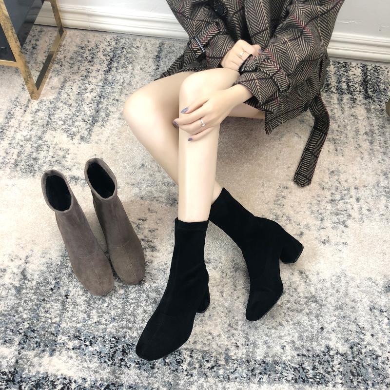 春秋单靴粗跟百搭方头弹力ins袜10月21日最新优惠