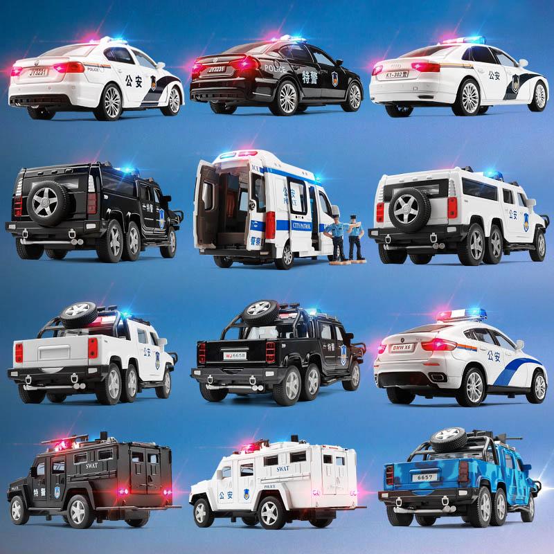 警车玩具车 男孩 儿童玩具车警汽车小汽车警察车合金汽车模型仿真