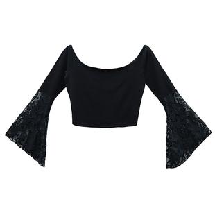 小心機蕾絲露肩t恤緊身短款夜 店裝性感長袖上衣女秋裝漏臍打底衫