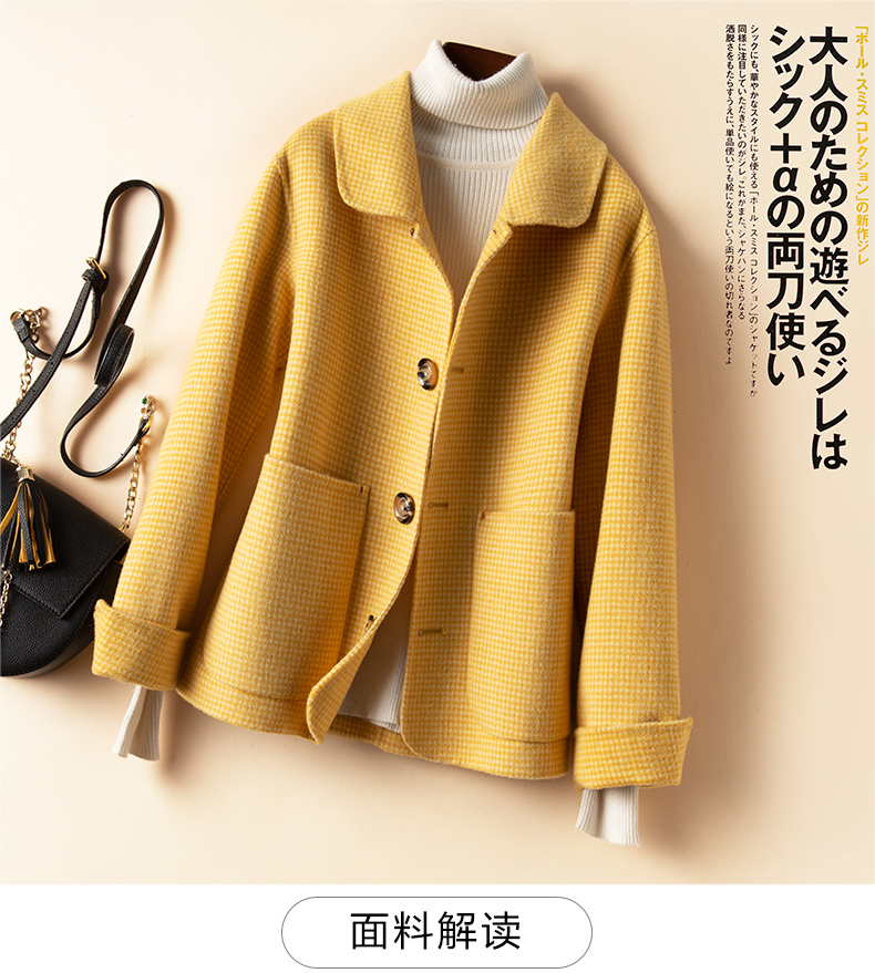 Anti new season pure wool double-sided cashmere coat for women short doll collar small bird plaid coat