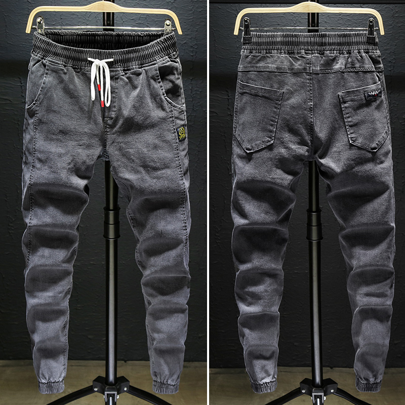 Mens jeans pants work clothes junior high school students spring 2020 elastic waist Harun casual Korean daddy pants