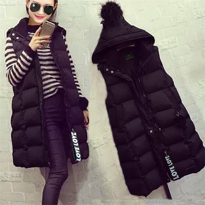 棉马甲女秋冬新款韩版连帽修身中长款羽绒棉服马夹女加厚保暖外套