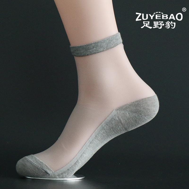 夏季水晶丝短袜男士袜子超薄防滑透明隐形防臭棉底中筒玻璃丝袜