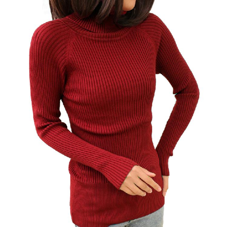 针情衫国高领保暖打底 冬季女装针织衫纯色加厚套头 中长修身毛衣