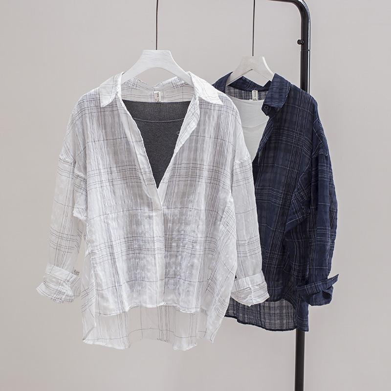 心机格子衬衫女长袖2018新款夏季韩版bf宽松衬衣薄棉麻百搭防晒衫
