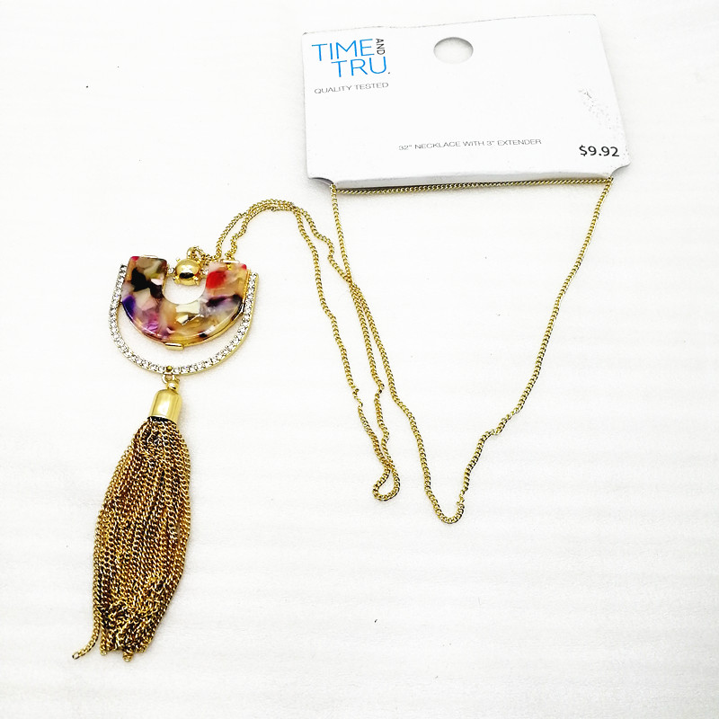 D-1 Europe, America, Japan and South Korea trend jewelry m brand mark fashion inlay Tassel Necklace female