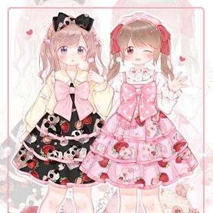 截团制作中 GD原创设计草莓奶团lolita连衣裙JSK吊带裙三段式定金