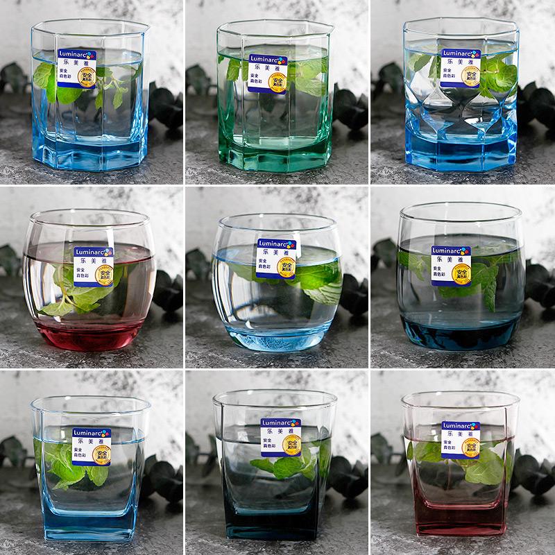 乐美雅家用耐热玻璃水杯茶杯啤酒杯创意彩色玻璃杯饮料杯果汁杯