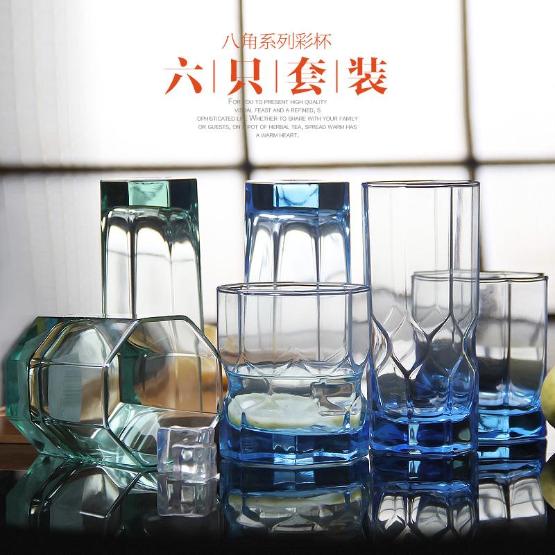 樂美雅耐熱玻璃水杯裝啤酒杯茶杯飲料牛奶杯子 茶杯6隻套裝