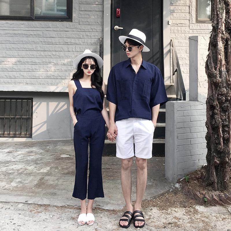 情侣装2021夏装韩版新款时尚纯色吊带背心套装小清新沙滩宽松衬衫