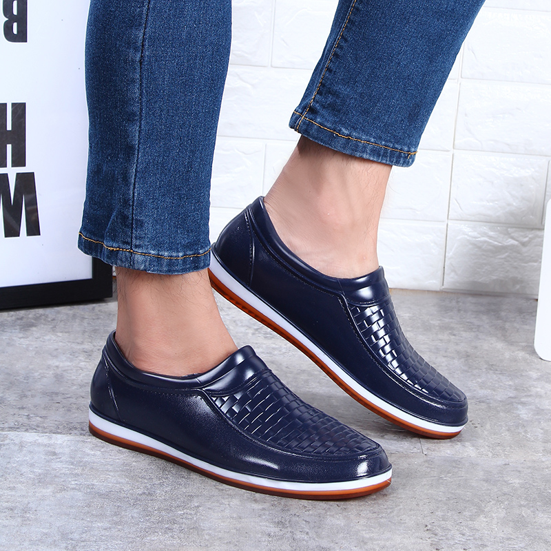 Summer fashion low top rain shoes mens short rain boots breathable imitation leather work kitchen ox tendon bottom anti-skid waterproof shoes