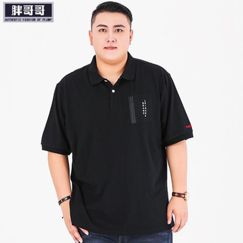 夏の太った男の服は特に大きいサイズをプラスして、太い襟の半袖のTシャツの200斤の胸囲の150パウロのポロシャツを返します。