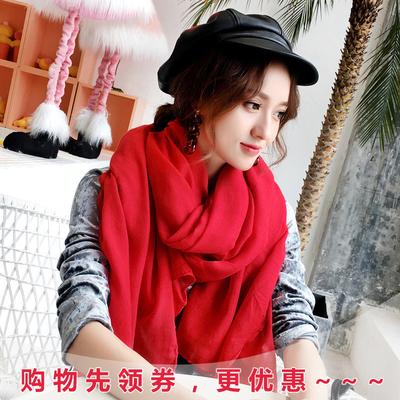 韩版百搭纯色清新棉麻披肩长款两用保暖秋冬围巾