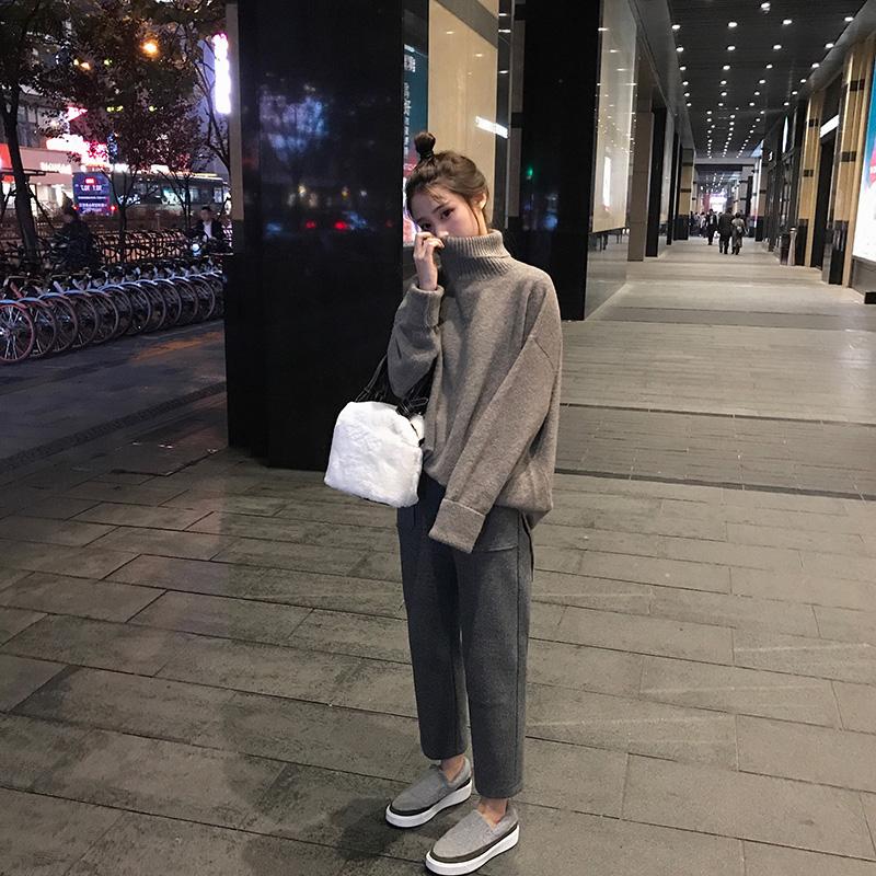 大码女装2018秋冬装新款微胖妹妹毛衣洋气减龄网红显瘦套装两件套