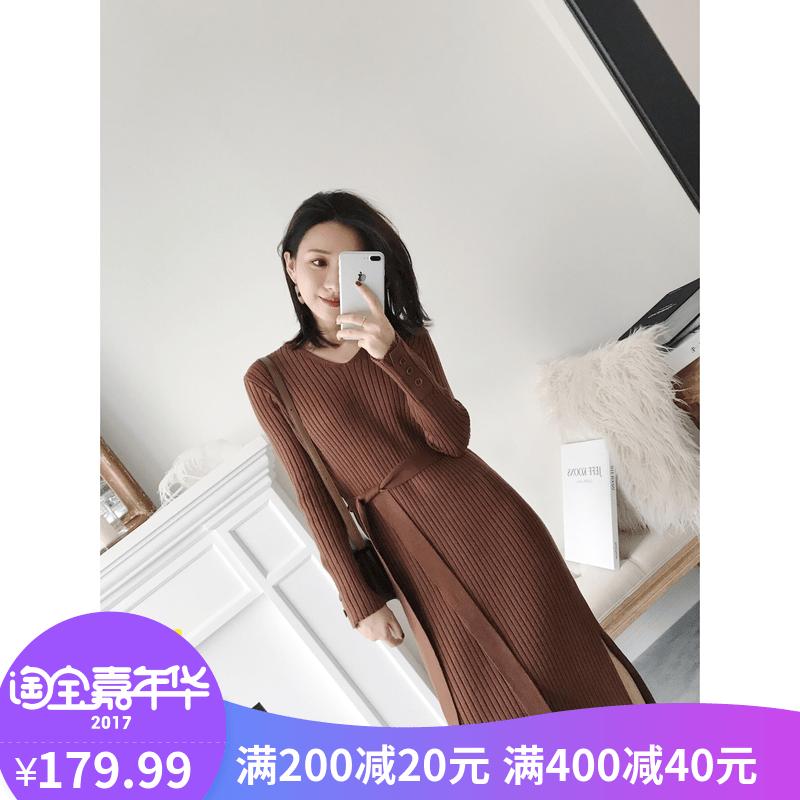Небольшой должен сделанный на заказ YESWOMEN 2017 новинка зимний осеннний тонкий V воротник свитера платье поддержка вязание платье