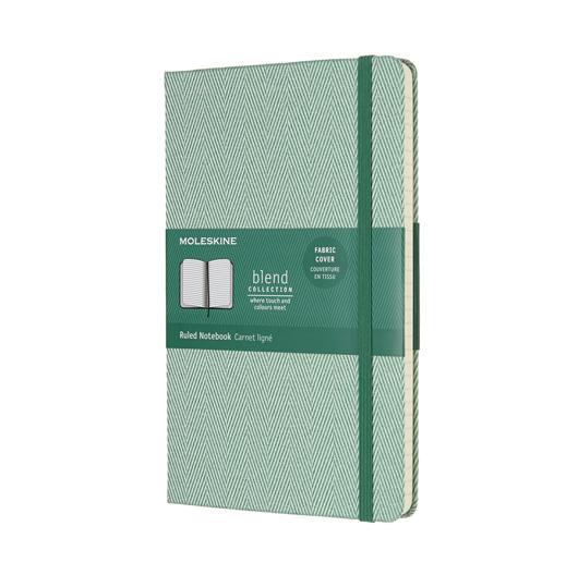 Moleskine Blend条纹绿色硬面横间笔记大型6003