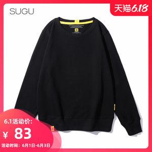 SUGU品牌秋装韩版女装宽松黑色纯色休闲运动潮牌长袖卫衣套头上衣