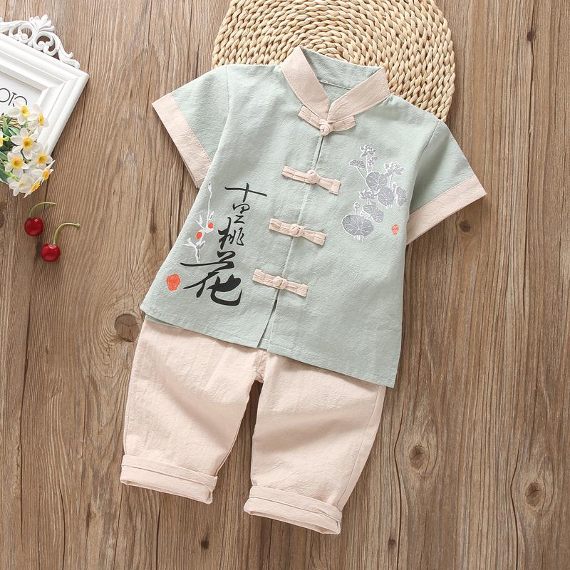 男宝宝夏装汉服男童夏中国风唐装两件套3民族风2儿童4短袖5套装潮