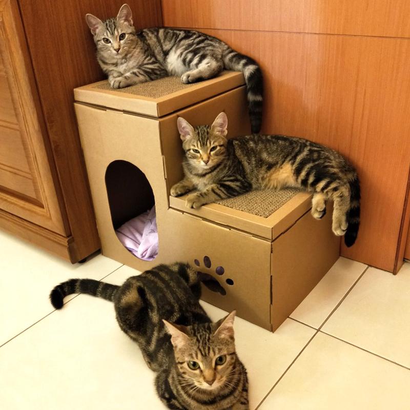 猫房子瓦楞纸猫窝房别墅猫抓板磨爪器猫窝四季通用双层猫屋猫帐篷