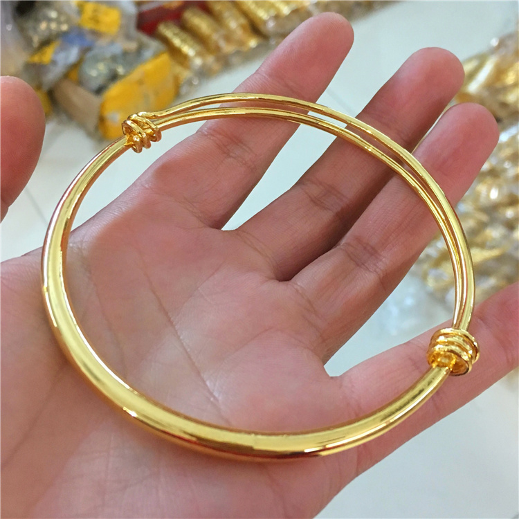 New Vietnamese sand gold face round Bracelet Euro imitation 18K real gold womens fashion Anklet bell does not fade for a long time