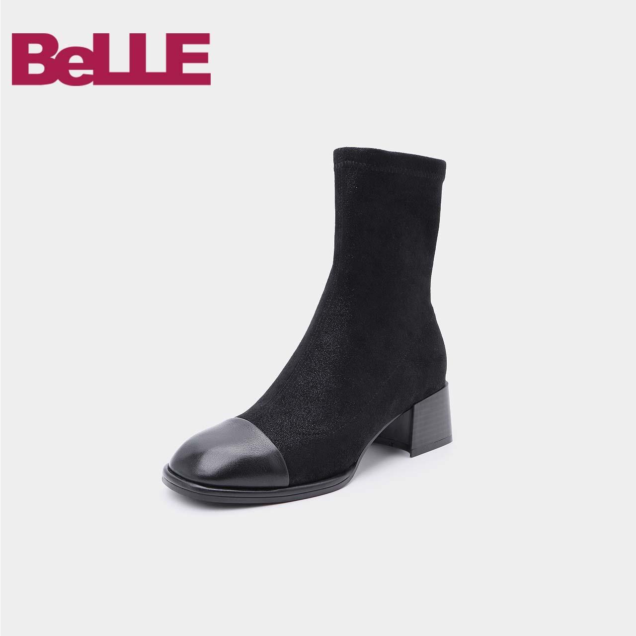 百丽女靴2018冬商场新款弹力布牛皮拼接粗高跟中靴T3J2DDZ8