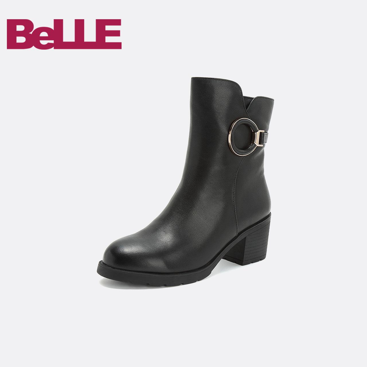 Belle/百丽2018冬商场新款牛皮女中靴(绒里/毛里)T1V2DDZ8