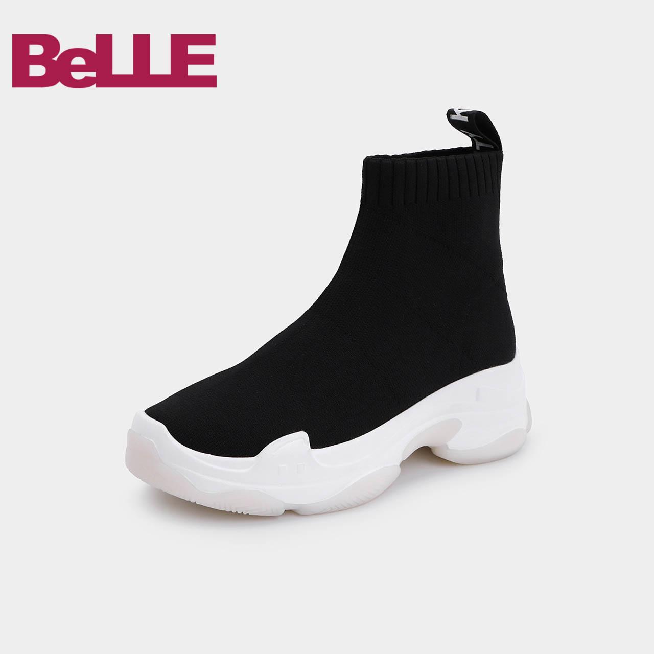 【淘宝预售】百丽袜靴厚底松糕运动风女休闲靴07181DD8