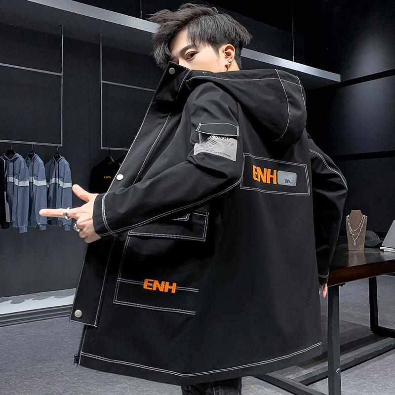 外套秋季新款薄款潮流风衣中长款夹克韩版时尚男装休闲JK203 P70