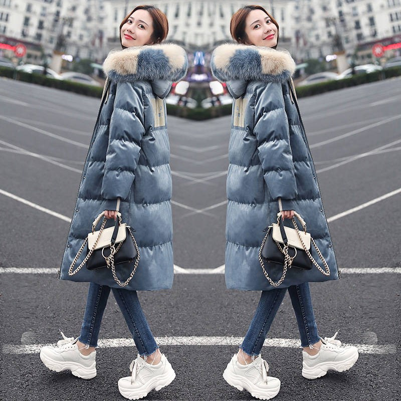 羽绒棉服女2019新款韩版金丝绒大毛领东大门中长款小个子过膝时尚