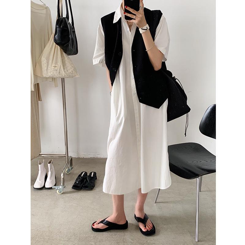 韩国宽松排扣亲肤棉麻衬衫2020秋季新款女装简约纯色文艺连衣裙