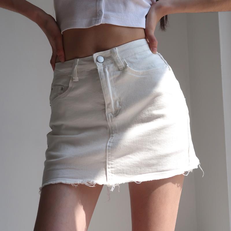 美式性感高腰撕边牛仔半身包臀裙