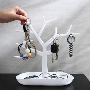 进门钥匙收纳架 玄关桌面置物架 收纳盒客厅创意摆件饰品首饰架