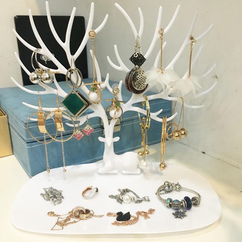 创意小鹿角树形饰品首饰收纳盒 耳环手镯项链手链耳钉展示架 包邮