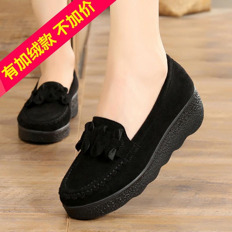 2019春秋老北京布鞋豆豆女鞋松糕厚底坡跟中跟棉鞋黑色女工作单鞋