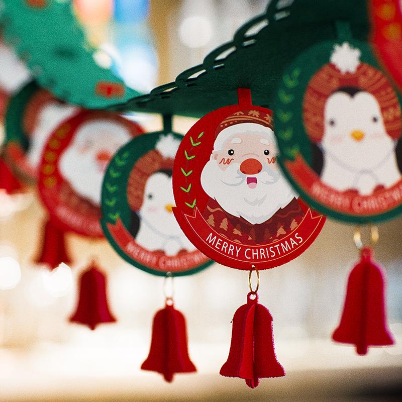 圣诞节装饰品橱窗场景布置店铺氛围教室室内创意挂件挂饰吊旗拉花