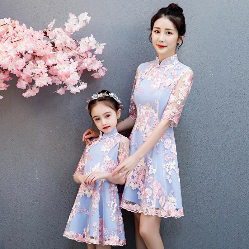 亲子装母女装改良旗袍连衣裙蕾丝公主礼服洋气网红夏款汉服女童唐